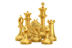 Golden chess figures, 3D rendering. On white background Royalty Free Stock Photography