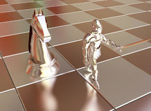 Golden Chess Knight with Horse. 3D  Abstract Illustration in Metall Gold Colors Stock Photos