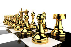 Golden Chess pieces Royalty Free Stock Photo