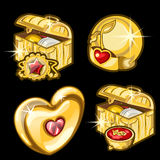 Golden chest with dishes, heart and other items Stock Photography