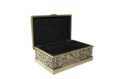 Golden chest. On white background Royalty Free Stock Photos