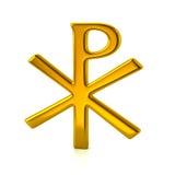Golden chi rho christian symbol. 3d illustration of golden chi rho christian symbol isolated on white background Stock Image