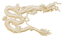 Golden Chinese Dragon carve isolate white background with clippi Stock Photos