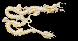 Golden Chinese Dragon carve isolate white background with clippi Royalty Free Stock Image
