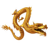 Golden Chinese dragon front Stock Photo