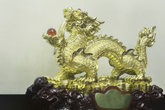 Golden chinese dragon statue. Stock Photo