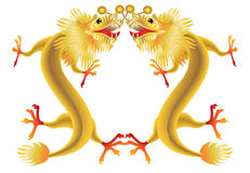 Golden chinese dragons on white background Royalty Free Stock Photo