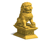 Golden chinese foo dog Royalty Free Stock Image