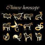Golden chinese horoscope Stock Images