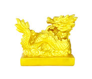 Golden Chinese Imperial Dragon on white Royalty Free Stock Photography