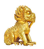 Golden Chinese lion figure isolated Royalty Free Stock Images