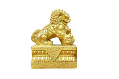 Golden chinese lion in joss house. Isolate of golden chinese lion in joss house Stock Images