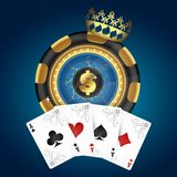 Gold chip and playing cards stock illustration