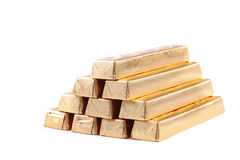 Golden chocolate bars Stock Images