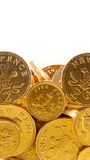 Golden chocolate coins Royalty Free Stock Photo