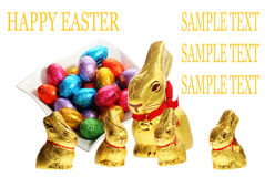 Golden chocolate Easter bunnies Royalty Free Stock Images
