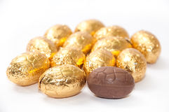 Golden chocolate easter egg on the white background Stock Photography