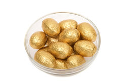 Golden chocolate eggs Stock Image