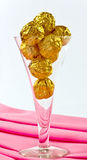 gold wrapped  chocolates Royalty Free Stock Photography