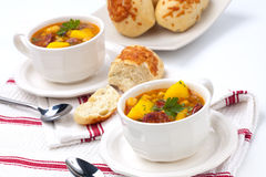 Golden chorizo and chickpea soup Stock Image