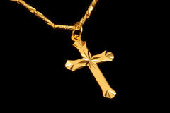 Golden christian crosses Stock Images
