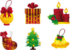 Golden Christmas. Posh and luxurious-looking golden Christmas icons perfect for the holidays Royalty Free Stock Photos