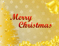 Golden Christmas. A shining golden Christmas glass effect background with a Merry Christmas wish, Christmas tree, bells and hollies, suitable for Christmas card/ Royalty Free Stock Photography