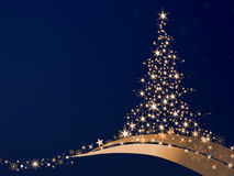 Golden Christmas. Tree of stars on a blue background Royalty Free Stock Images