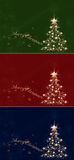 Golden Christmas. Tree of stars on a red, blue and green background Royalty Free Stock Image