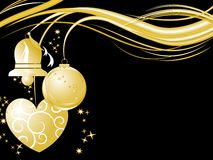 Golden Christmas background. Golden Christmas ornaments over black Stock Photo