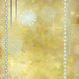 Golden Christmas Background. With Beautiful Gemstone Decorations Stock Image