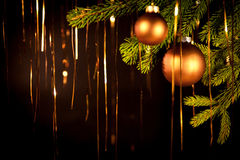 Golden christmas background with balls Royalty Free Stock Image