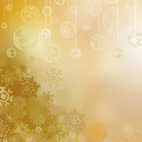 Golden christmas background with baubles . EPS 8 Royalty Free Stock Image