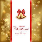 Golden Christmas background with bells Royalty Free Stock Photo