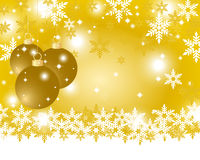 Golden Christmas background with Christmas balls. And snowflakes Stock Photography