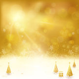 Golden Christmas background with Christmas tree and present. Festive golden background with stars, snowflakes, Christmas trees and gift. Out of focus light dots stock illustration