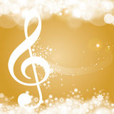 Golden christmas Background. With clef, voucher, Greeting Card Royalty Free Stock Image
