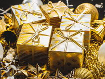 Golden Christmas Background Stock Photos