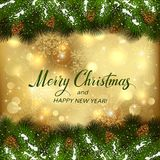 Golden Christmas background with fir tree branches. Golden Christmas background and spruce branches with snow and pine cones. Text Merry Christmas and Happy New Royalty Free Stock Images