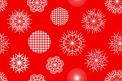Golden Christmas background with geometric motifs. Snowflakes and circles with different ornaments. Retro textile collection Stock Illustration