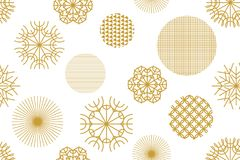 Golden Christmas background with geometric motifs. Snowflakes and circles with different ornaments. Retro textile collection Stock Photo