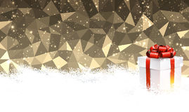 Golden Christmas background with gift. Golden geometric Christmas background with gift. Vector illustration Royalty Free Stock Photo
