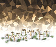 Golden Christmas background with gifts. Golden geometric Christmas background with gifts. Vector illustration Stock Image
