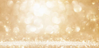 Christmas Golden Lights Stock Photos