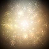 Golden Christmas background with glowing shiny snowflakes and stars. Blurred vector for your decoration Stock Photos
