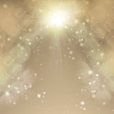 Golden Christmas Background. Holiday Abstract Background. Blurred Bokeh Stock Image