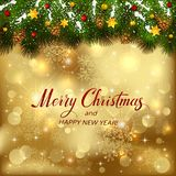 Golden Christmas background with fir tree branches and holiday d. Golden Christmas background with holiday decorations on spruce branches with snow and pine Stock Photos