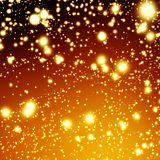Golden Christmas  background - holiday white lights with gold  b Stock Image