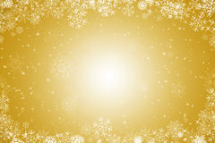 Golden christmas background. With ice crystals and snowflakes stock illustration