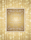 Golden christmas background and label with sale of Stock Photography
